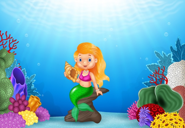Cartoon mermaid holding seashell