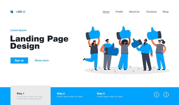 Cartoon metaphor of customer review, quality feedback landing page in flat style