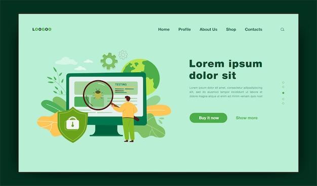 ソフトウェア保証アプリケーションまたはサービスの漫画の比喩。フラットなイラスト。コンピュータハードウェアのバグを修正する、巨大なルーペテスト品質の小さな男。 web保護、ウイルス対策の概念のランディングページ
