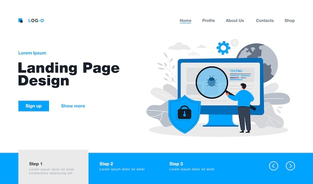 Cartoon metaphor of software assurance application or service landing page in flat style