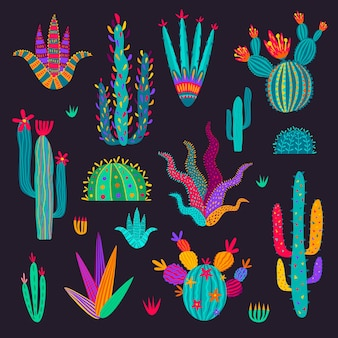 Cartoon mexican cactus, cacti in doodle style