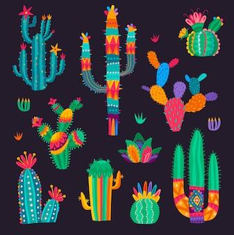만화 멕시코 선인장 꽃, 사막 즙이 많은 세트. 다채로운 환각 스타일의 벡터 선인장입니다. 스파이크 또는 꽃이 있는 사막 식물, cinco de mayo 연하장을 위한 열대 식물 디자인 요소