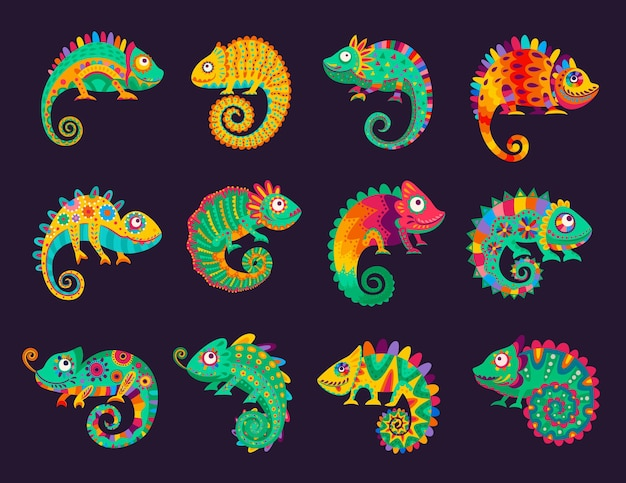 Мультяшные мексиканские хамелеоны, векторные ящерицы с богато украшенной красочной кожей, длинным пышным хвостом, языком и телескопическими глазами. дикое животное, домашнее животное, экзотическая тропическая рептилия для cinco de mayo или dia de los muertos