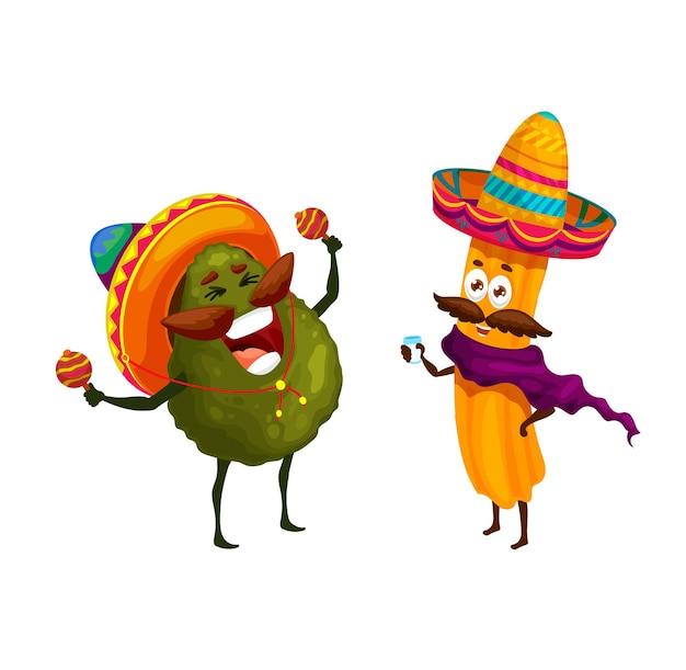 만화 멕시코 츄로스와 아보카도 행복한 캐릭터. 벡터 mariachi 재미있는 음악가들은 솜브레로에서 마라카스를 연주하고 데킬라를 마십니다. tex mex 패스트 푸드 아티스트는 국경일을 축하하고 노래합니다.