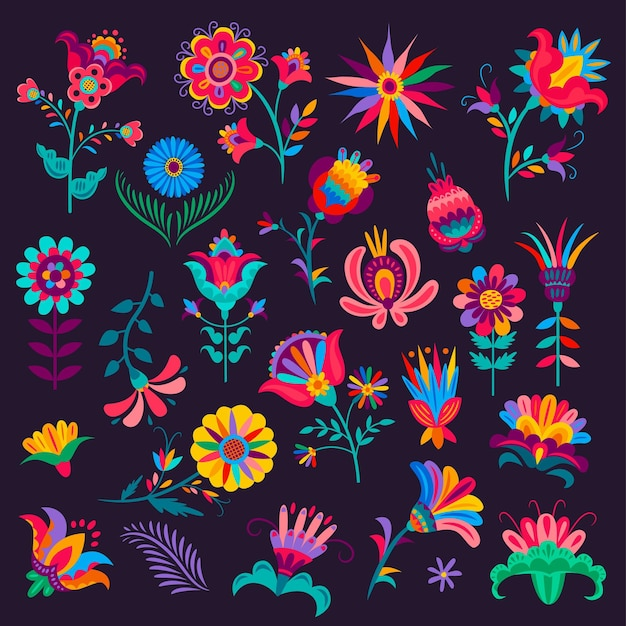 Cartoon mexican flowers, buds and blossoms, vector plants with colorful petals and stems, elements for mexico day of dead dia de los muertos or cinco de mayo festival floral design isolated set