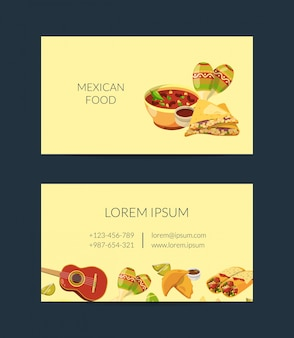 Cartoon mexican food business card template for mexican cuisine
