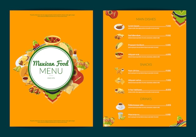 Cartoon mexican food cafe restaurant menu template illustration