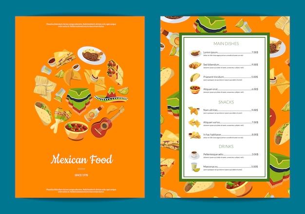 Cartoon mexican food cafe or restaurant menu template illustration