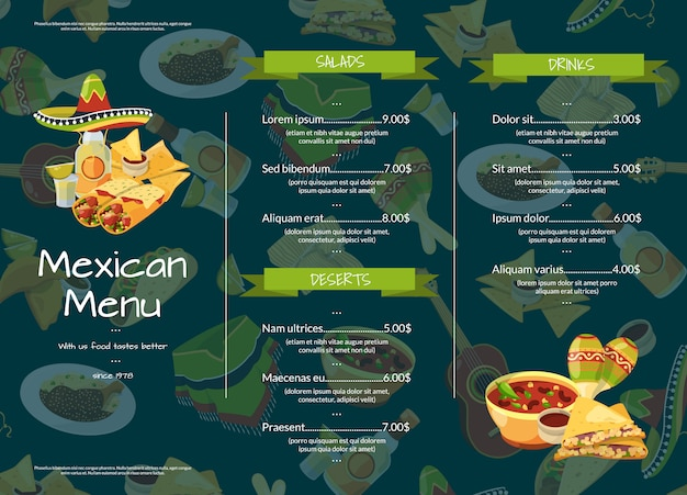 Cartoon mexican food cafe or restaurant menu template illustration