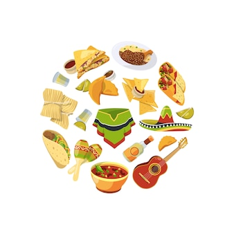 Cartoon mexican food in circle shape illustration