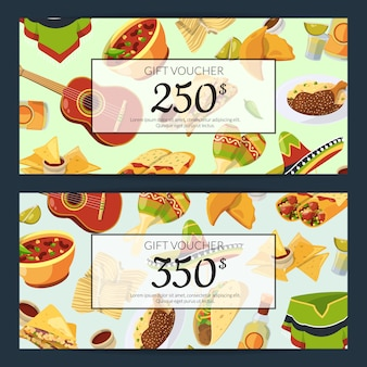 Cartoon mexican food discount or gift voucher templates illustration