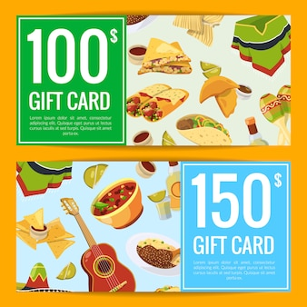 Cartoon mexican food discount or gift voucher