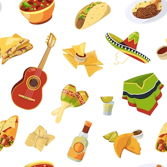 Cartoon mexican food seamless pattern