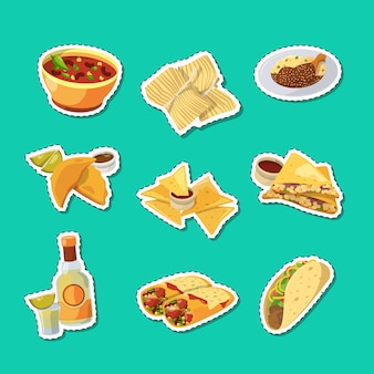 Cartoon mexican food stickers set illustration