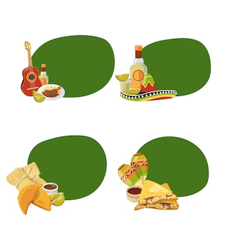 Cartoon mexican food stickers with copyspace