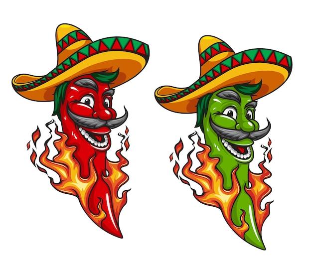Cartoon mexican jalapeno or chili pepper mascot