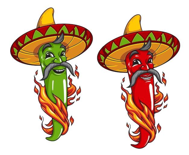 漫画のメキシコのハラペーニョまたは唐辛子のキャラクター