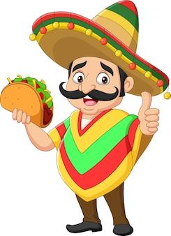 タコスを保持し、親指をあきらめる漫画のメキシコ人男性