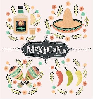 Cartoon mexican set of illustration