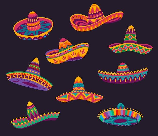 Мультяшные мексиканские шляпы сомбреро с цветным этническим рисунком, векторные объекты праздника мексики и фиесты. карнавал синко де майо музыкант мариачи праздничные соломенные шляпы сомбреро или кепки