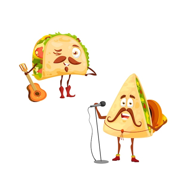 Cartoon mexican tacos and quesadilla characters. vector singer in sombrero with microphone and funny musician with guitar tex mex fastfood with mustaches celebrating national holidays