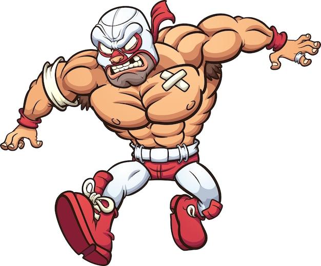 Мультфильм мексиканский борец бежит с сердитым лицом