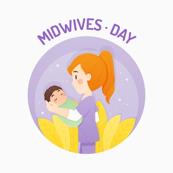 Cartoon midwives day illustration