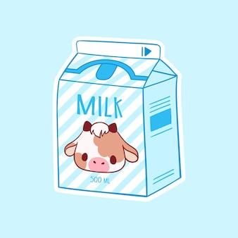 Cartoon milk asian product hand drawn colored trendy vector illustration kawaii anime