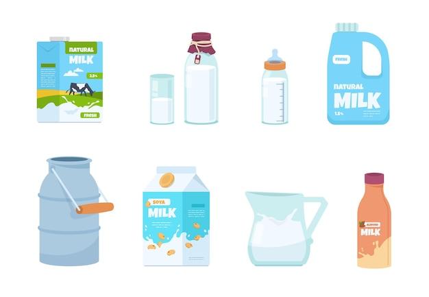 漫画のミルク。ペットボトル、白い食品容器、カートンパッケージ、ボトル、ヨーグルト入りガラス。伝統的なカートンの新鮮な製品とミルクの分離パックのベクトルセットイラスト