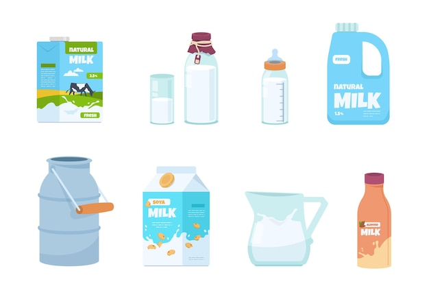 Cartoon milk. plastic bottle, white food container, carton package, bottle and glass with yogurt. vector set illustration of isolated packs for milk with fresh product in traditional carton