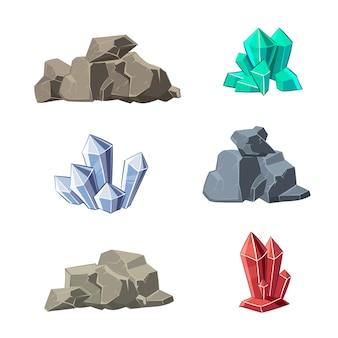 漫画の鉱物と石のセット。石の鉱物、漫画の鉱物石、天然鉱物石、結晶鉱物石のイラスト