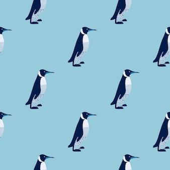 Мультяшный минималистичный стиль бесшовные модели с простым орнаментом пингвинов.