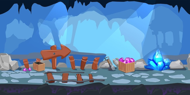 Cartoon mining game level design composition with big wooden pointer inside the cave