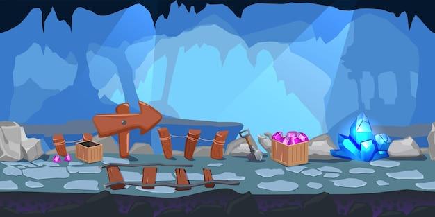동굴 내부의 큰 나무 포인터로 만화 마이닝 게임 레벨 디자인 구성