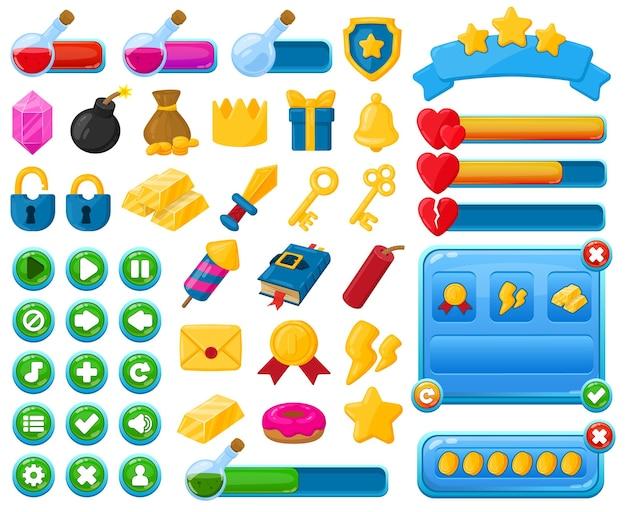 만화 모바일 게임 사용자 인터페이스 키트 요소입니다. 캐주얼 게임 인터페이스 메뉴 버튼, 트로피 및 바 벡터 일러스트레이션 세트. 모바일 게임 사용자 인터페이스 아이콘