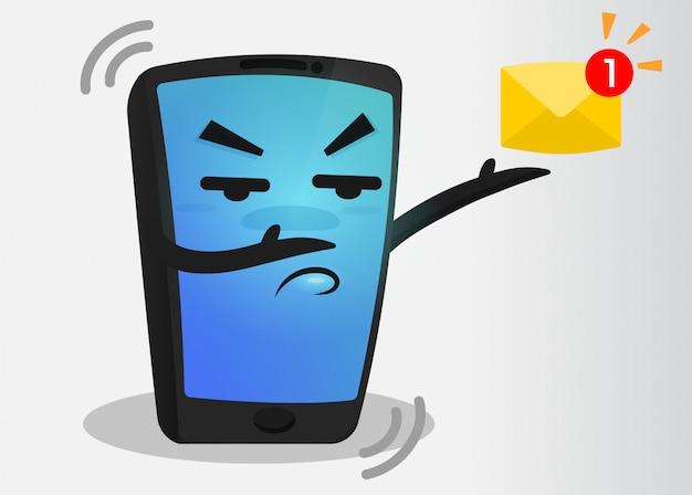 Cartoon mobile phone message alert.