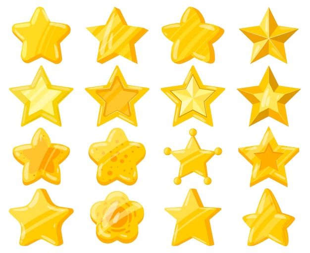 Cartoon mobile web game ui golden stars. casual game interface shiny stars, yellow golden star trophies vector illustration set. mobile game achievement reward