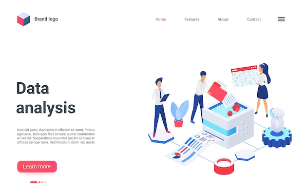 Cartoon mobile website design concept for landing page