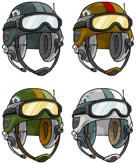 Cartoon modern army helmet vector set