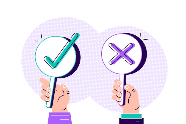 Cartoon modern of yes no banner in human hand on white background. test question. choice hesitate, dispute, opposition, choice, dilemma, opponent. flat style design  illustration concept.