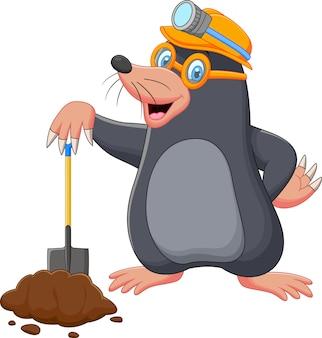 Cartoon mole holding shovel