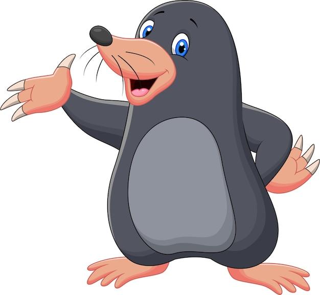 Cartoon mole waving