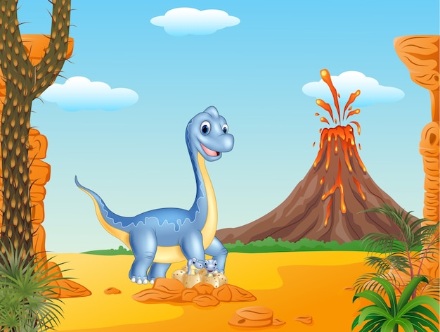 Cartoon mom and baby dinosaur hatching