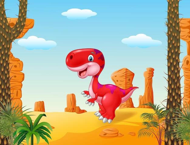 Cartoon mom and baby dinosaur