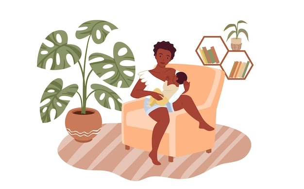 Cartoon mom character with newborn child sitting in armchair together to feed baby with love