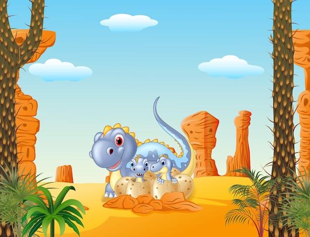 Cartoon mom dinosaur and baby dinosaurs hatching