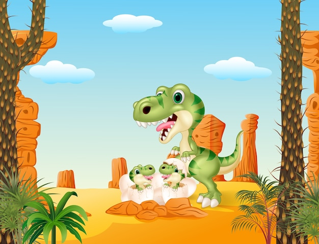 Cartoon mom tyrannosaurus dinosaur