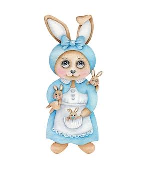小さな子供たちと漫画のママのウサギ