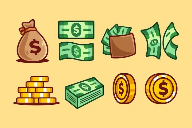 漫画のお金とコインのコレクション