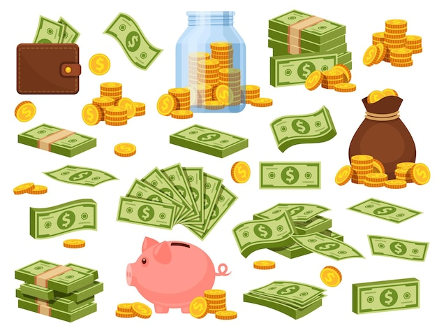 Cartoon money bag and piles. piggy bank, banknote packs, wallet with dollar bills, gold stacks and sack with coins. cash savings vector set